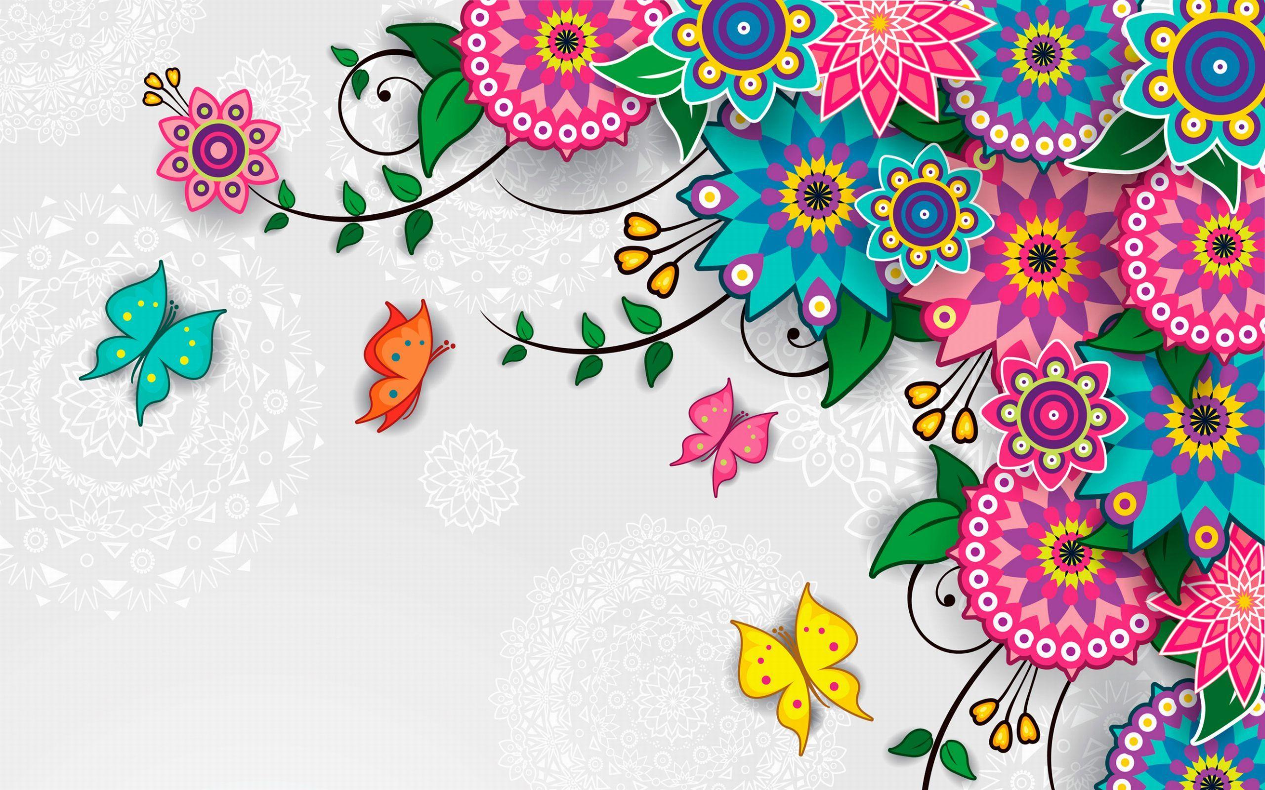 Flowers Pattern Vector Art Background Wallpaper