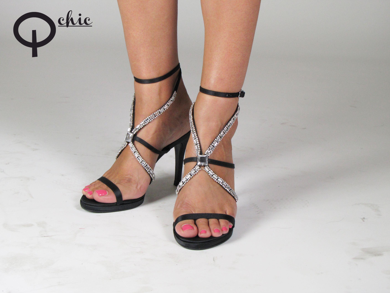 Missguided Donna Oro Pin Tacco peeptoe sandalo nudo con cinturino alla caviglia misura 8 NUOVO