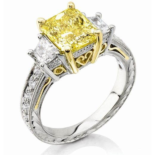 unique canary yellow and white diamond wedding ring Wedding rings