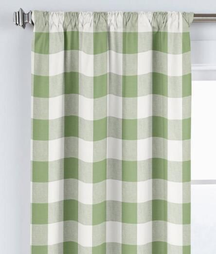 Linen Check Rod Pocket Curtains