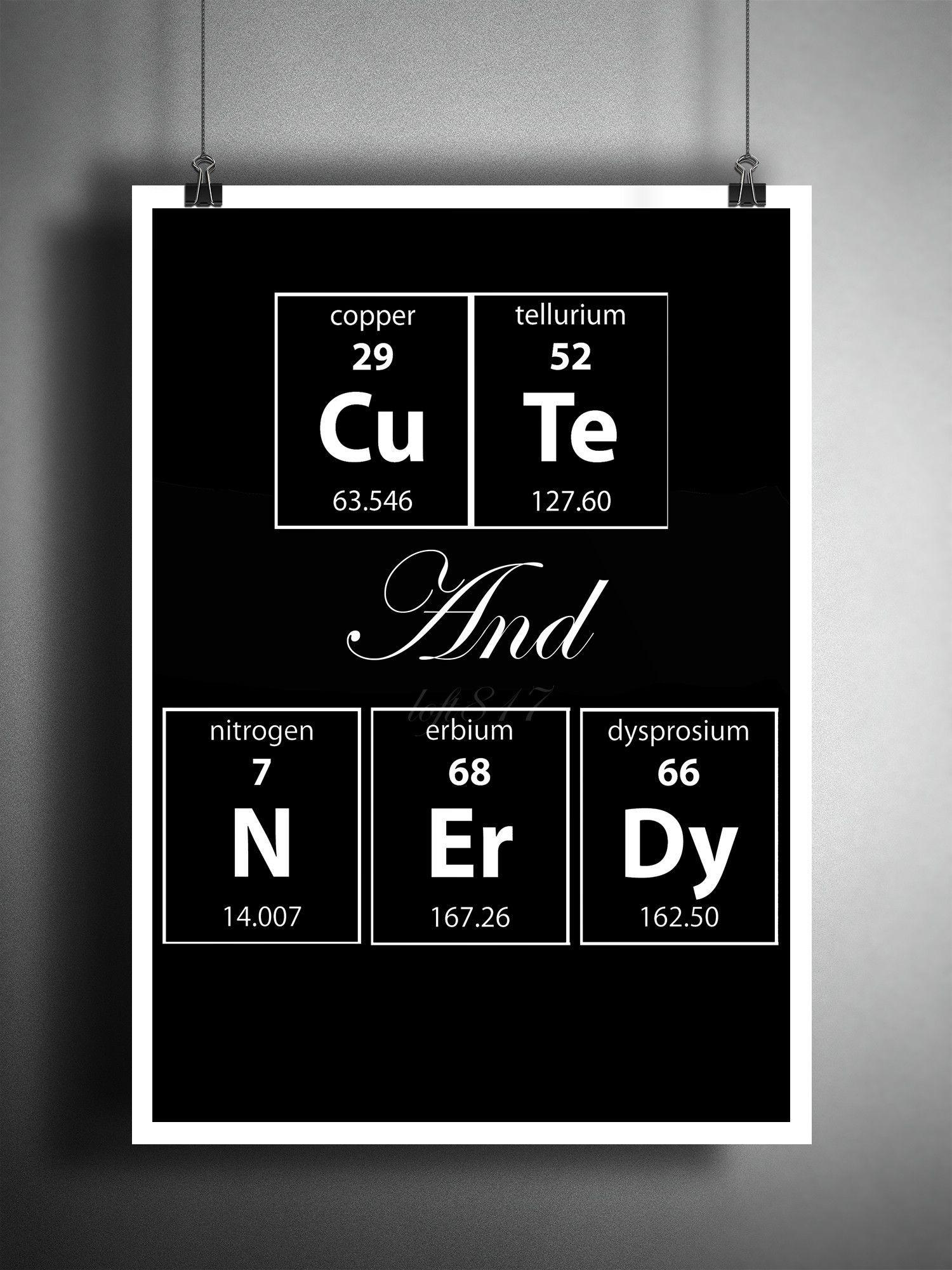 Cute and Nerdy Periodic table art print nerdy art gift for her  sc 1 st  Pinterest & Cute and Nerdy Periodic table art print nerdy art gift for her ...