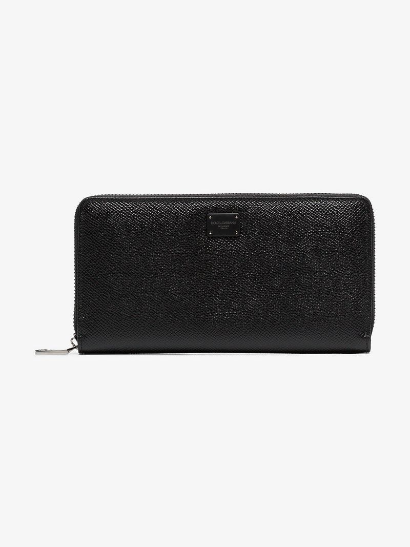 bddb285e130 DOLCE & GABBANA | Black Logo Plaque Grained Leather Wallet | $874.43 | This  black Dolce