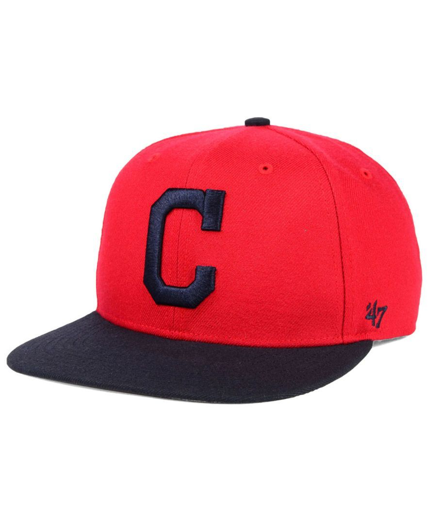 save off 46176 a770a  47 Brand Cleveland Indians Sure Shot Snapback Cap.