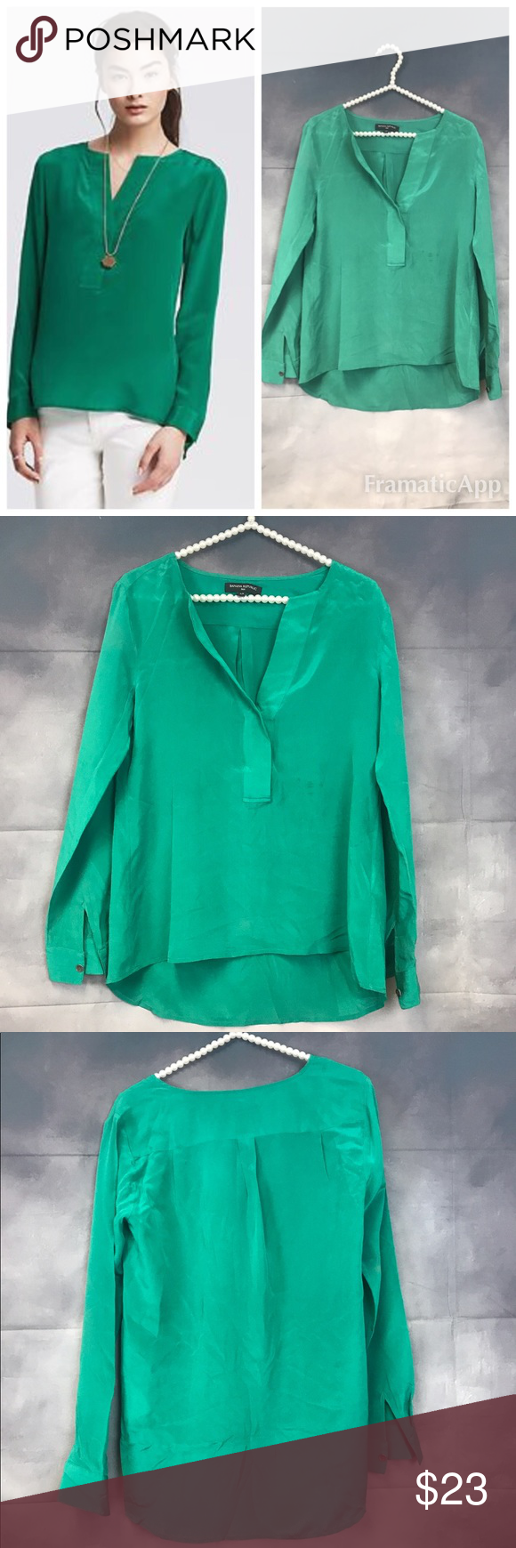 """BANANA REPUBLIC PINTUCK GrEEN SILK TUNIC TOP Style: Pintuck blouse all silk tunic. There is a stain in the front which can be dry clean. Soft slowy material. Measurements of item laying flat and straight across: Bust:19"""" Length (back): 28"""" (front) 21"""" Banana Republic Tops Blouses"""