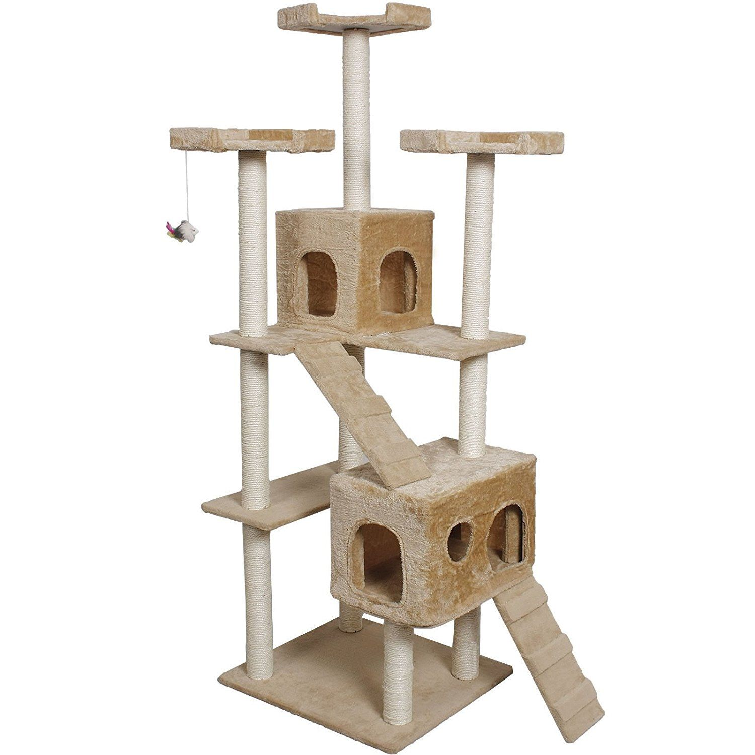 73u0027 Cat Kitty Tree Tower Condo Furniture Scratch Post Pet House Toy Bed  Beige