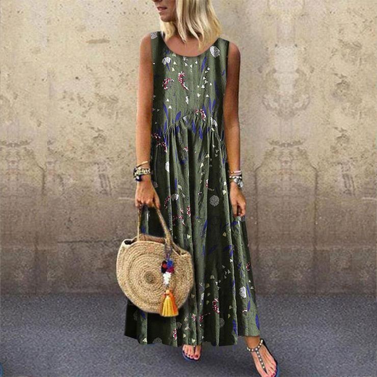 M-5XL Damen O Neck Kaftan Kleid Abendkleid Baumwolle Linen Blumen Lose Longkleid