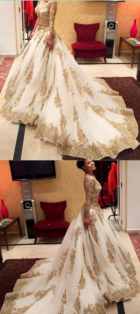 Gold Lace Long Sleeve Prom Dress,Long Prom Dresses,Charming Prom ...