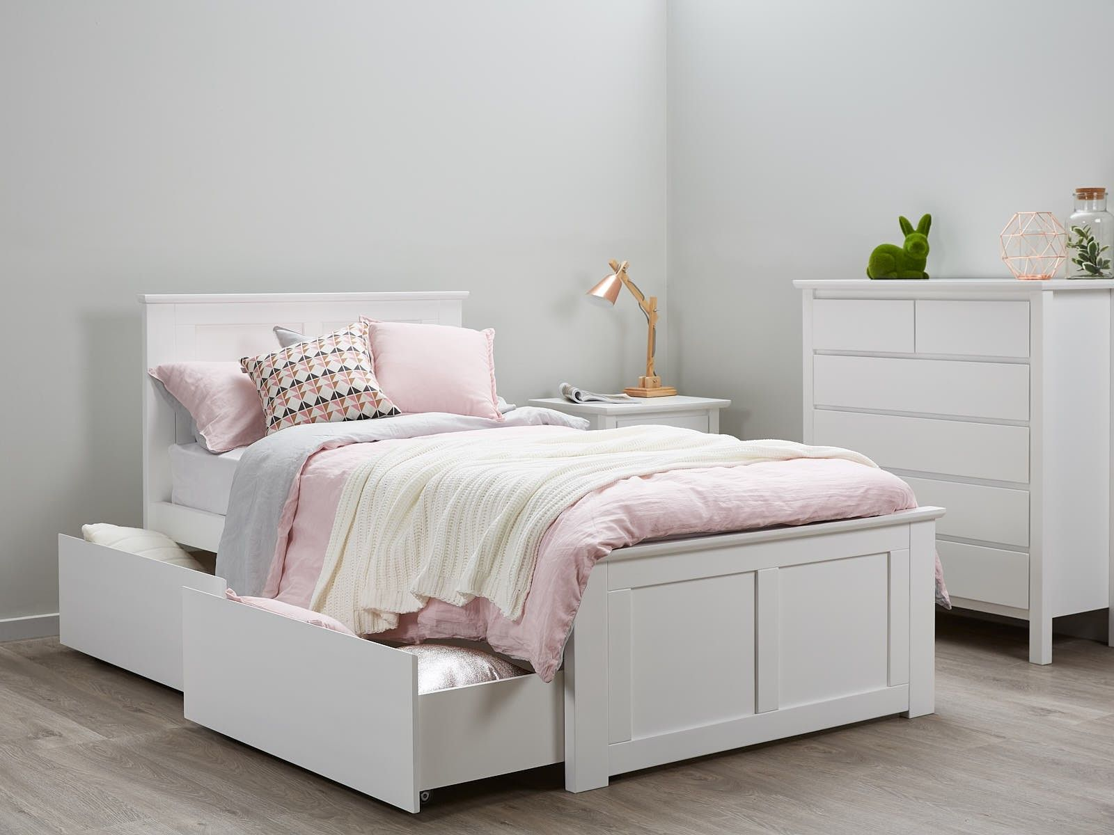 Bella White King Single Storage Bed Hardwood Frame Single Beds
