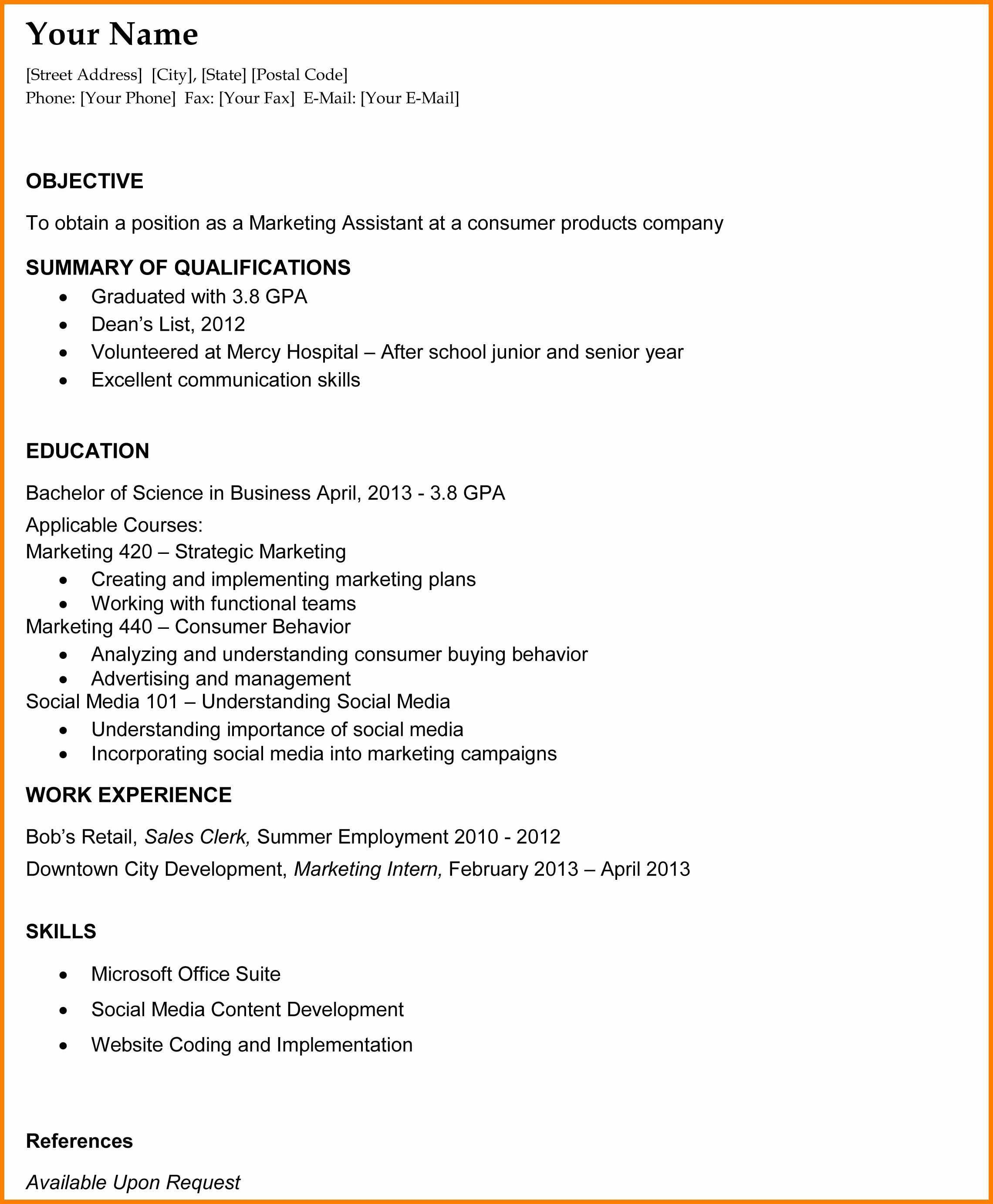 qualification summary for student resume