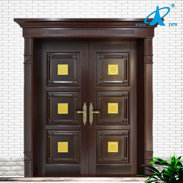 Main door teak wood double front door design photo for Traditional main door design