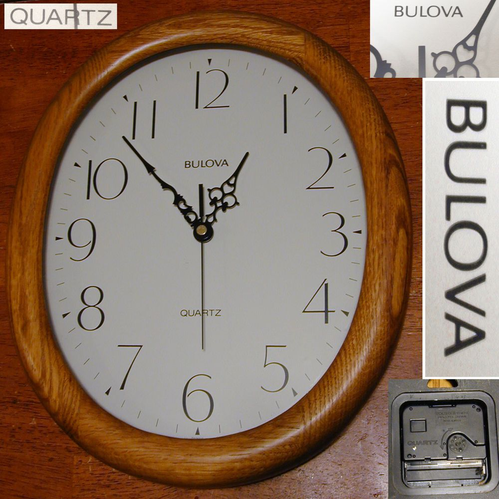 Bulova Light Solid Oak Wood Glass Quartz Wall Clock 14 X11 Wood Glass Oak Wood Wall Clock