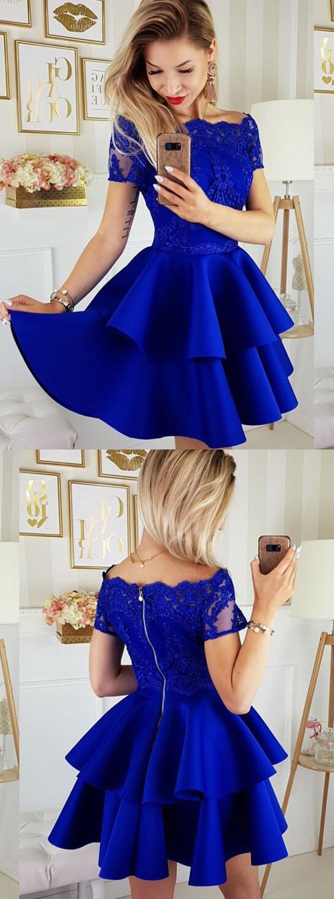 Aline off the shoulder royal blue short homecoming dress with lace