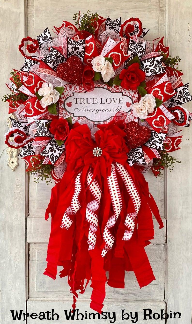Valentine's Day Rag Bow Wreath, Love Wreath, Valen