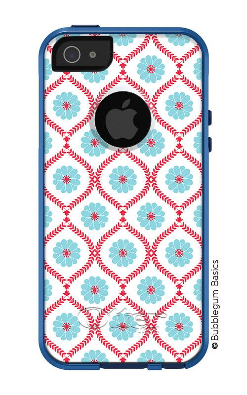 OTTERBOX Commuter iPhone 5 5S 5C 4/4s Case Floral Blue Red Lattice design FASHION SERIES Collection