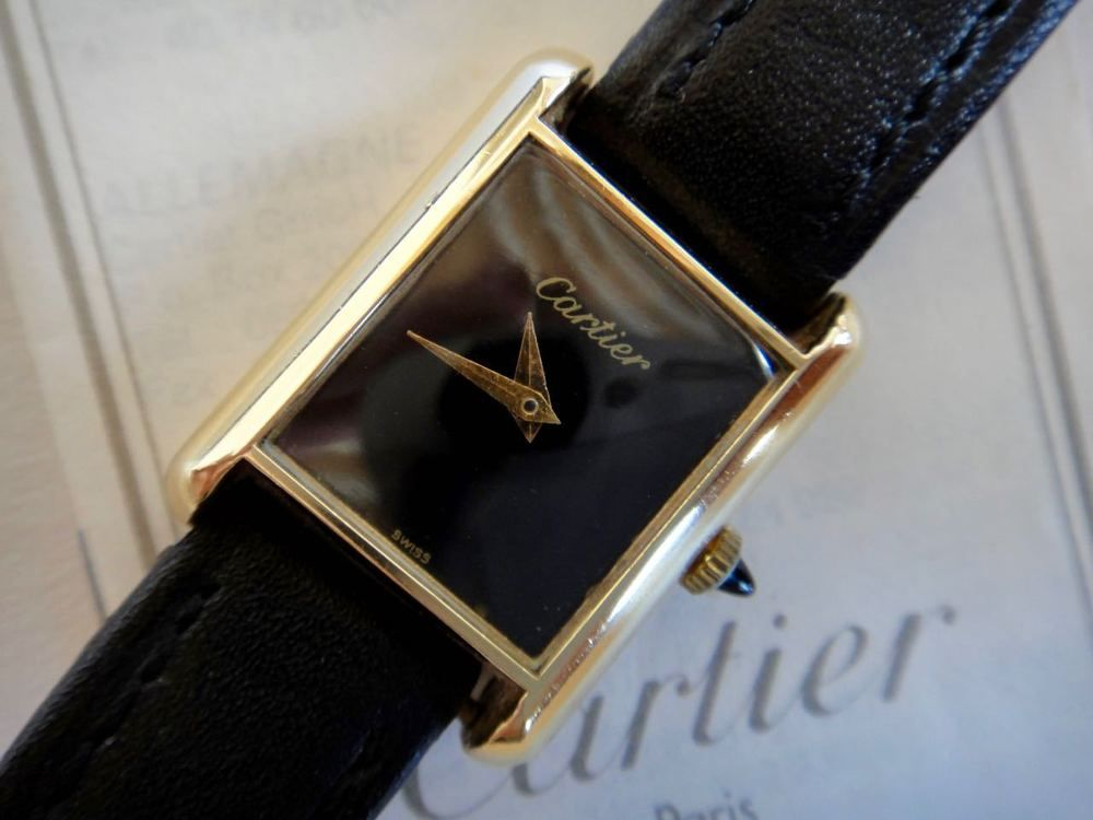 90607412d03 VINTAGE CARTIER TANK 8K GOLD ELECTROPLATED WATCH GOLD BLACK FACE SWISS MADE