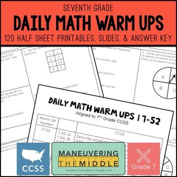 7th Grade Math Warm Ups - Common Core | | Math • Middle