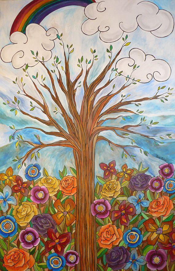 original painting tree art tree painting large painting