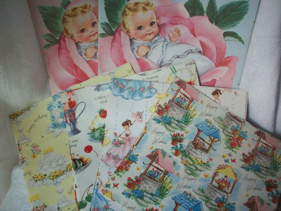 Vintage Wrapping Paper in Box   Bridal Baby by HMCTreasures