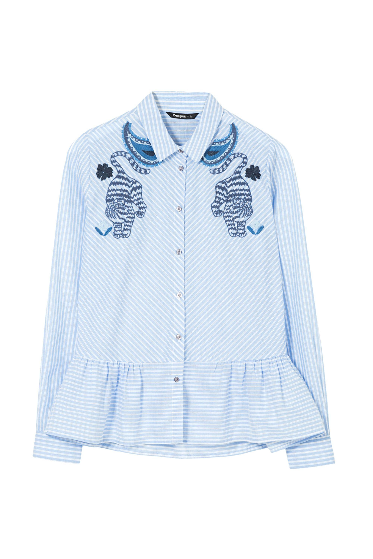 A Azul Blusas Moda Usa Y Atlanta Rayas Camisas Camisa SO5wnqZZ