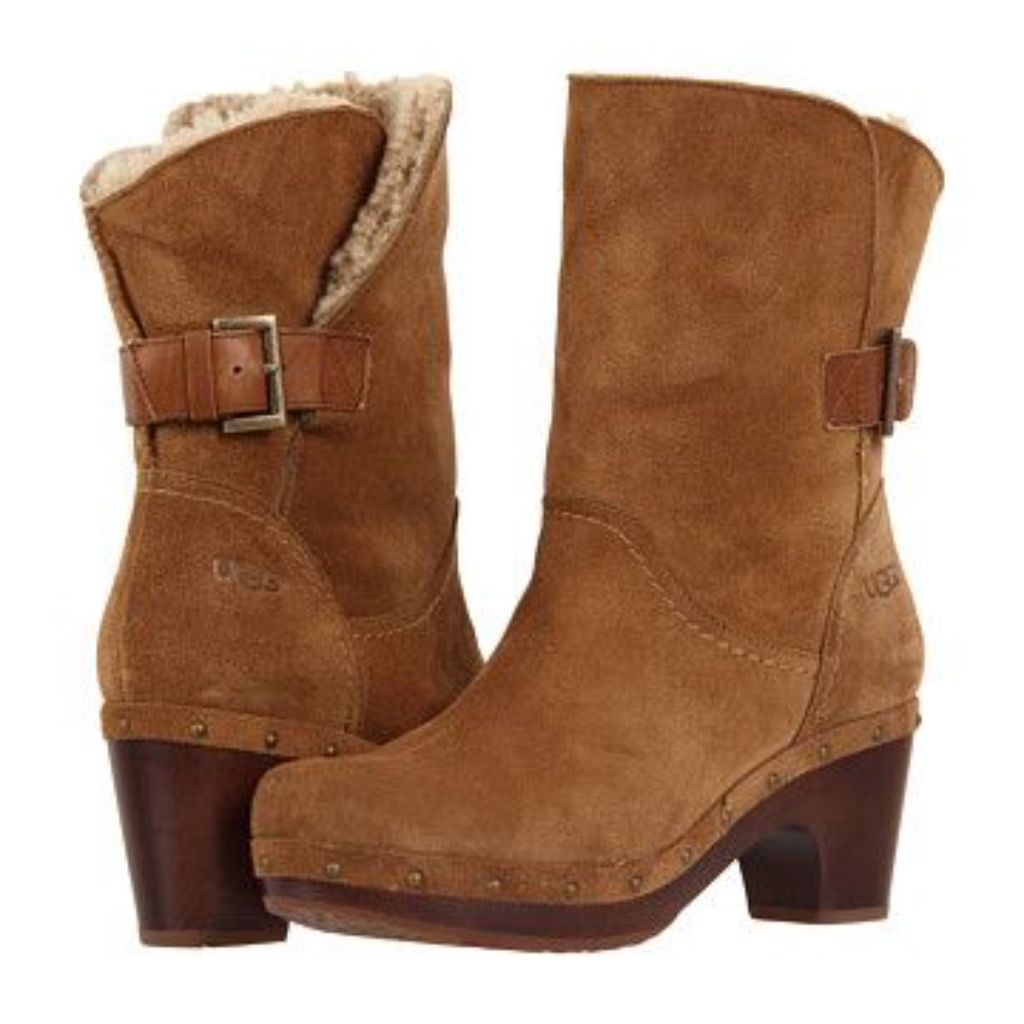 15b765091e8 UGG Shoes | Ugg Amoret Leather Heeled Boots | Color: Tan | Size: 6 ...