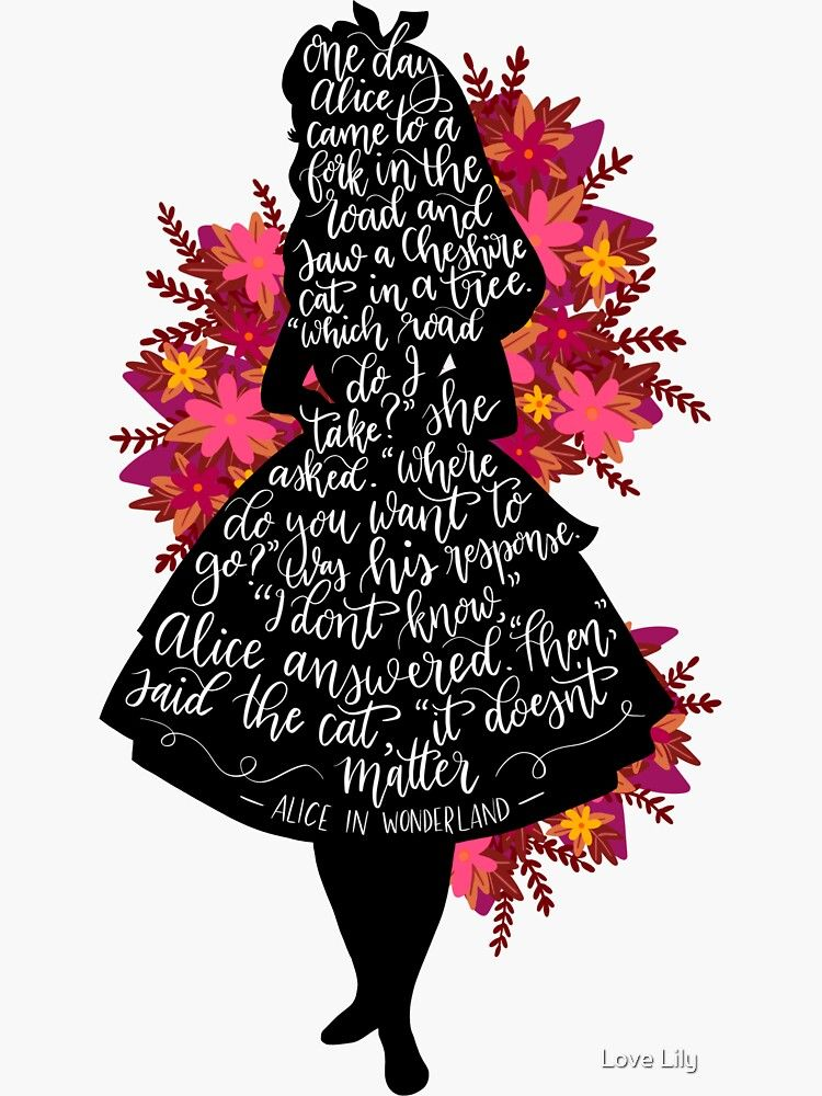 Alice in Wonderland Quote Sticker by Lilee Mei