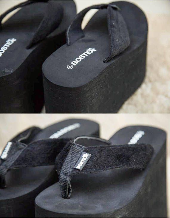 7d61fac5b8b 90s Bostex Black Foam Slip On Club Kid Platform Flip Flop Thong Sandals • 6  DETAILS