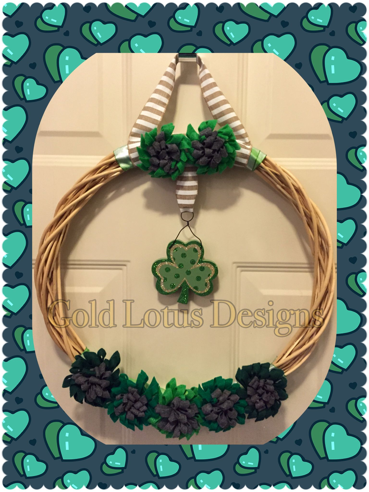 "St. Patrick's Day Willow/Rattan Wreath with Handmade Felt Flowers & Wood 4-Leaf Clover Decoration, 18"" - Gold Lotus Designs ** Custom Handmade Crafts by Kim Lynn ** www.facebook.com/GoldLotusDesigns"