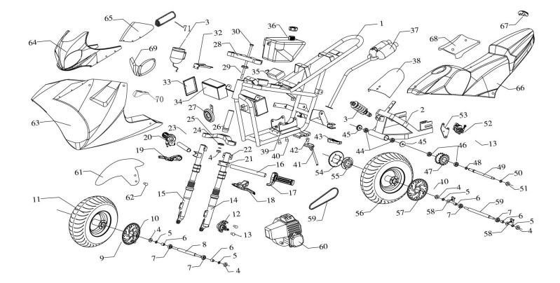Wiring Diagram For 49cc Mini Chopper 50cc Pocket Bike Of 2
