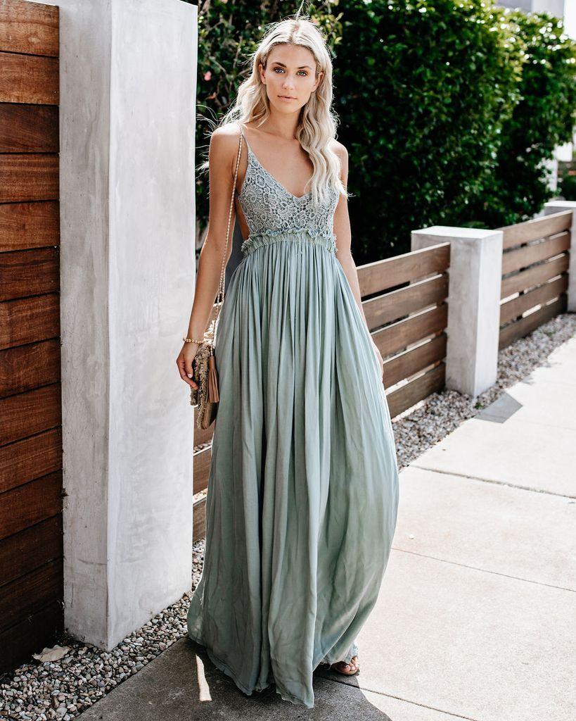 Boho Sage Green Maxi Dress