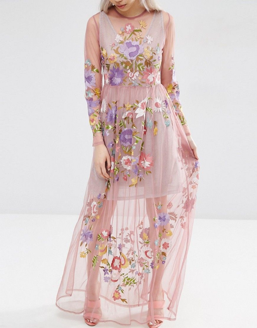 Image 3 of ASOS Pretty Embroidered Mesh Maxi Dress with Metallic ...