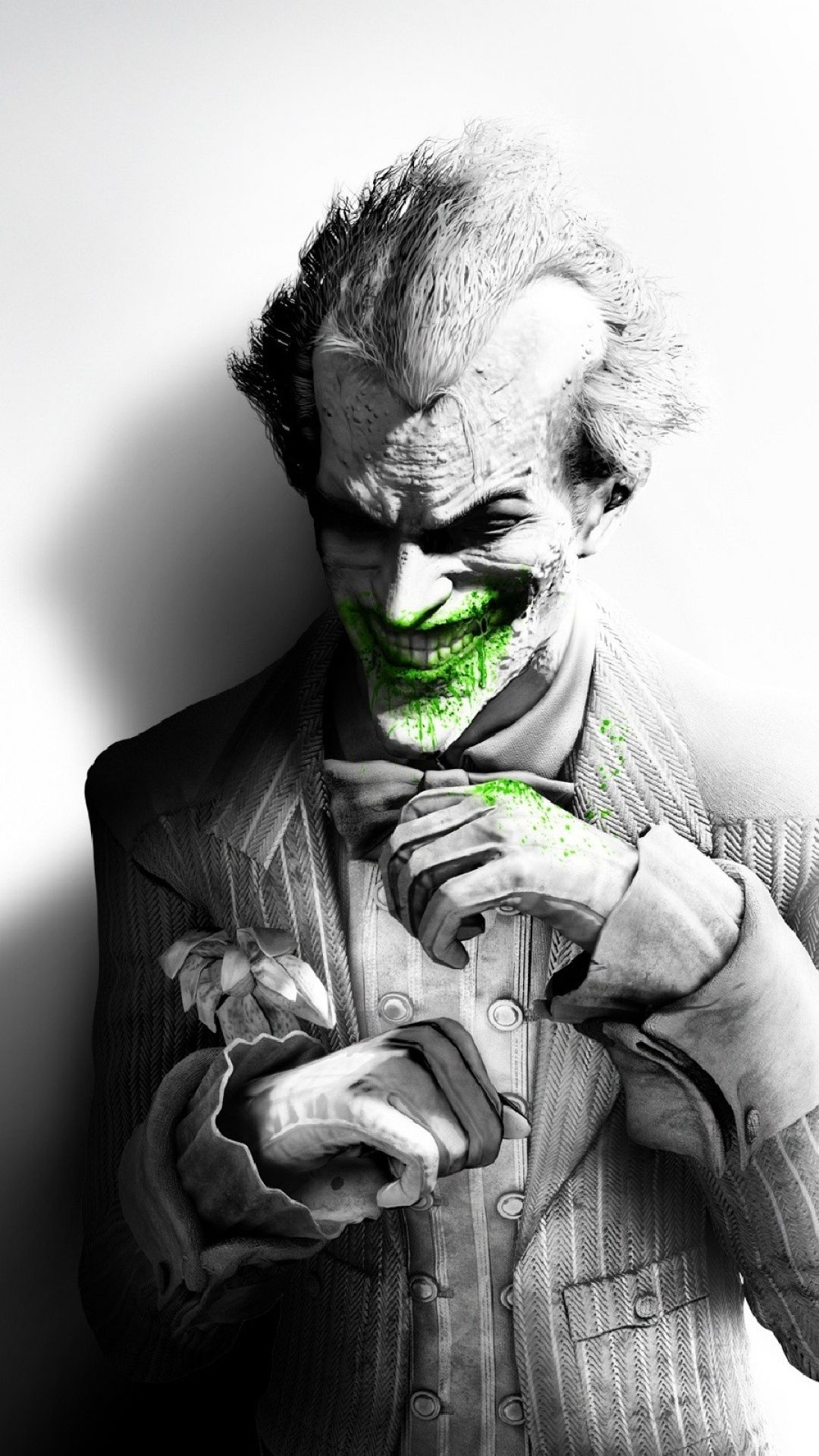 Download Wallpaper 1080x1920 Batman Arkham City Joker Smile Suit Flower Fan Art Black And White Sony Xperia Z Joker Arkham Arkham City Batman Arkham City
