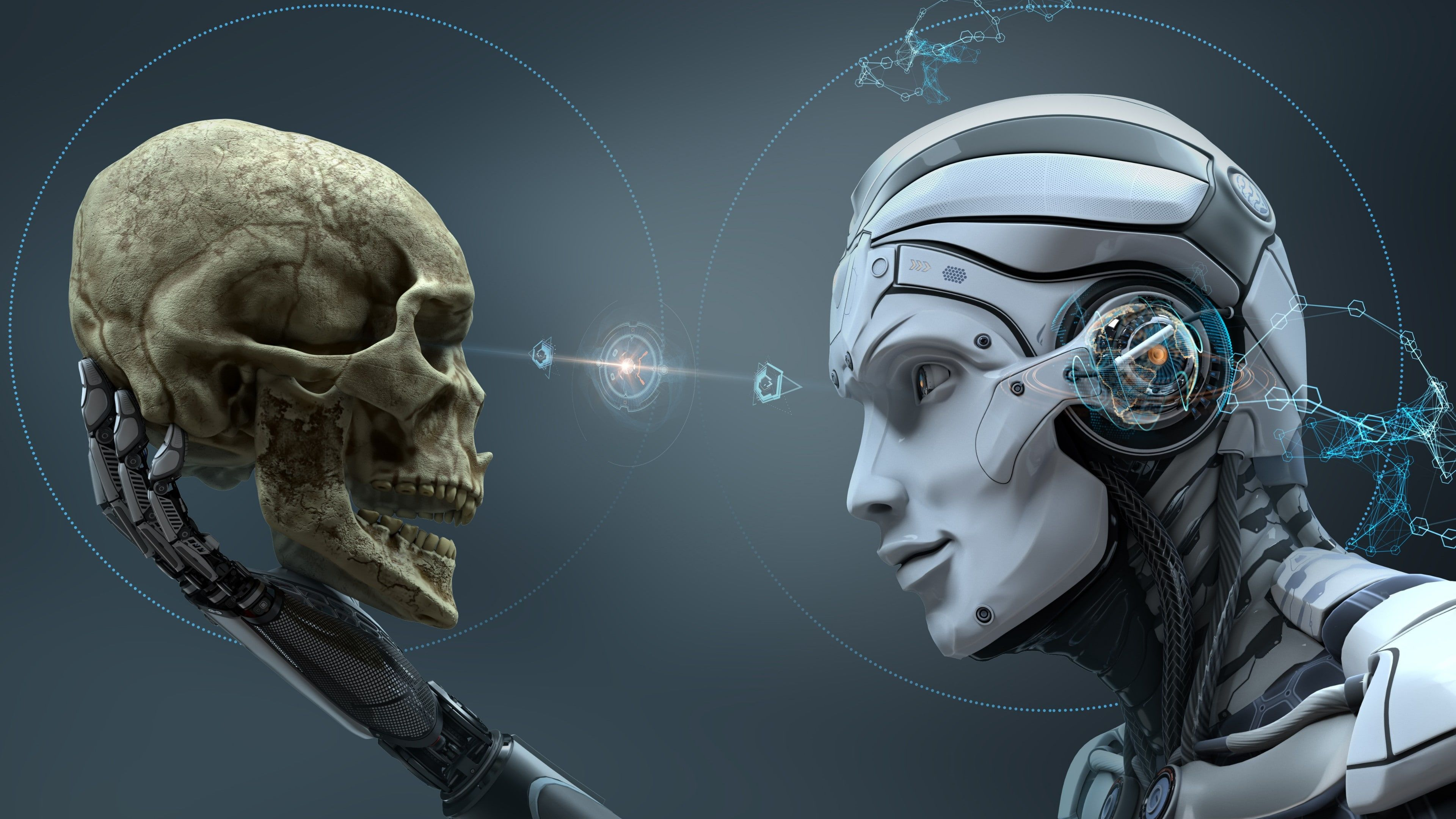 Skeleton Head Technology Bone Digital Art Human Artwork Robot Skull Visual Effects Illustratio Artificial Intelligence Death Metal Cybernetic Organism