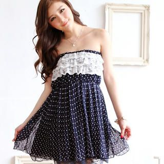 Strapless Lace-Trim Dotted Dress from #YesStyle <3