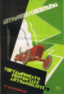 'Automobile Club Parma', by E. Carboni, 1930    'VIII Campionato Provinciale Automobilistico - Automobile Club di Parma'. A rare original poster, Italian c. 1930. Linen mounted and unframed.     Dimensions: 27 x 39 inches (69 x 100 cms).    Price Code: ££££    Reference: 3058