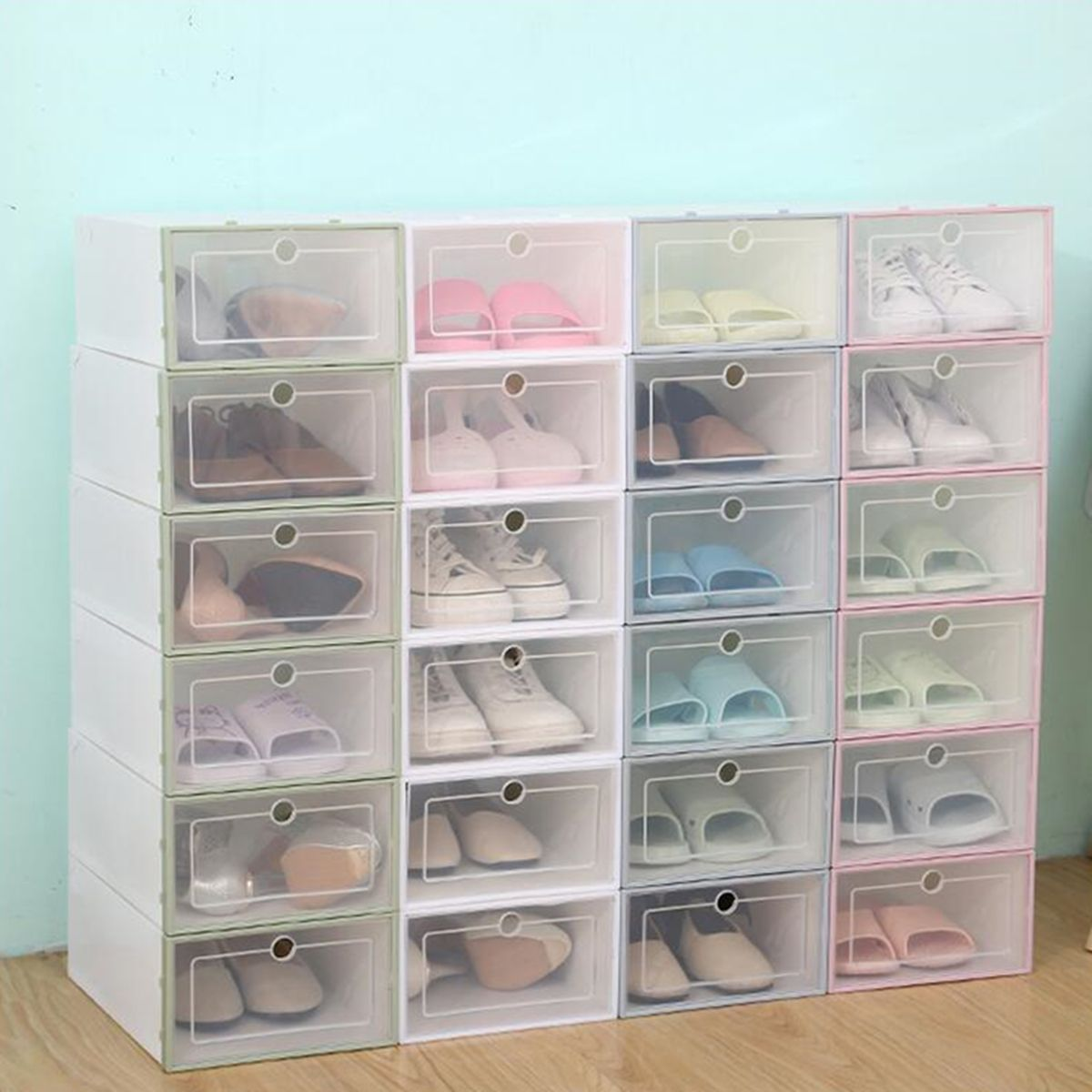 Foldable Clear Plastic Shoe Boxes Case Stackable Tidy Display Storage Organizer Single Box Hot Tren Plastic Shoe Boxes Clear Plastic Shoe Boxes Plastic Shoes