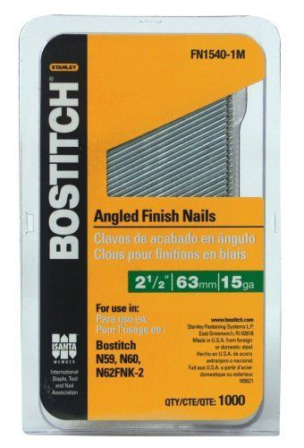 Stanley Bostitch Fn1540 1m 2 1 2 Inch 15 Gauge Fn Style Angled Finish Nails 1000 Qty By Stanley Bostitch 19 99 Fr It Is Finished Finishing Nails Air Tools