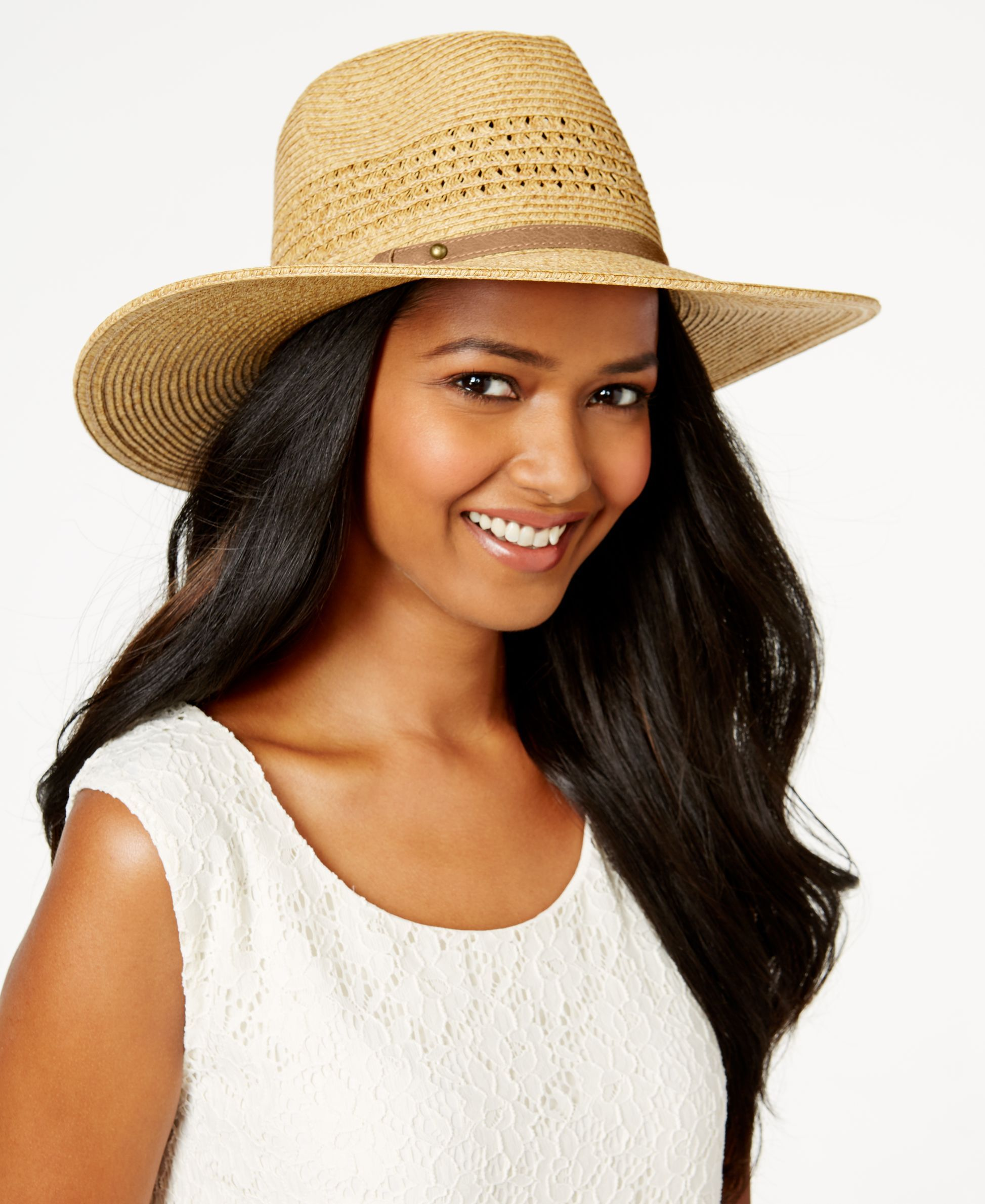 efdab0af777 Take your style to go with this trendy rancher hat from Nine West. Its  packable shape resists bends and dents