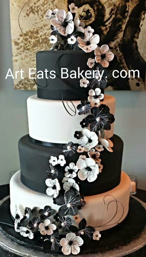 Modern Black And White Fondant 4 Tier Wedding Cake With Cascading Edible Dramatic Flowers