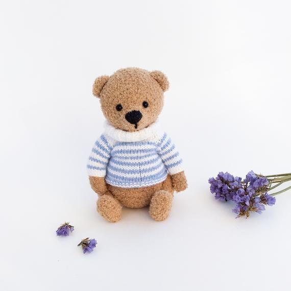 knitted bear amigurumi toy handmade toy cute gift crochet toy gift  bear boy brown bear teddy bear toy  bear sailor Easter decor #beartoy
