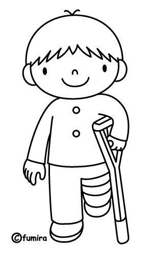 Coloriage d 39 un enfant qui a un pl tre et une b quille - Coloriage d un enfant ...