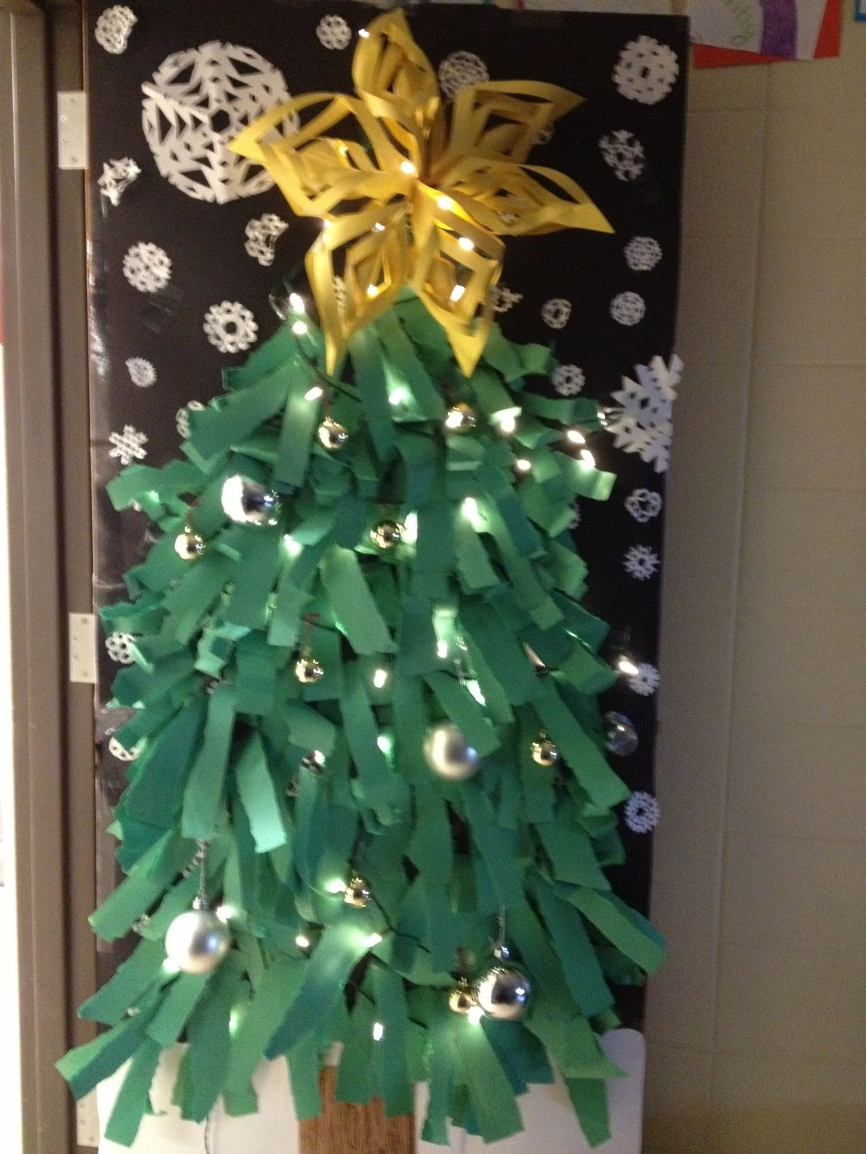 christmas tree door decoration diy pinterest