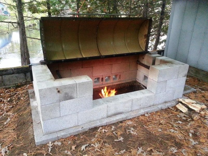 Fire pit cinder block for the home pinterest cinder for Fireplace and bbq