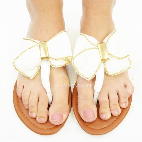 Ivory white and gold bow top sandals