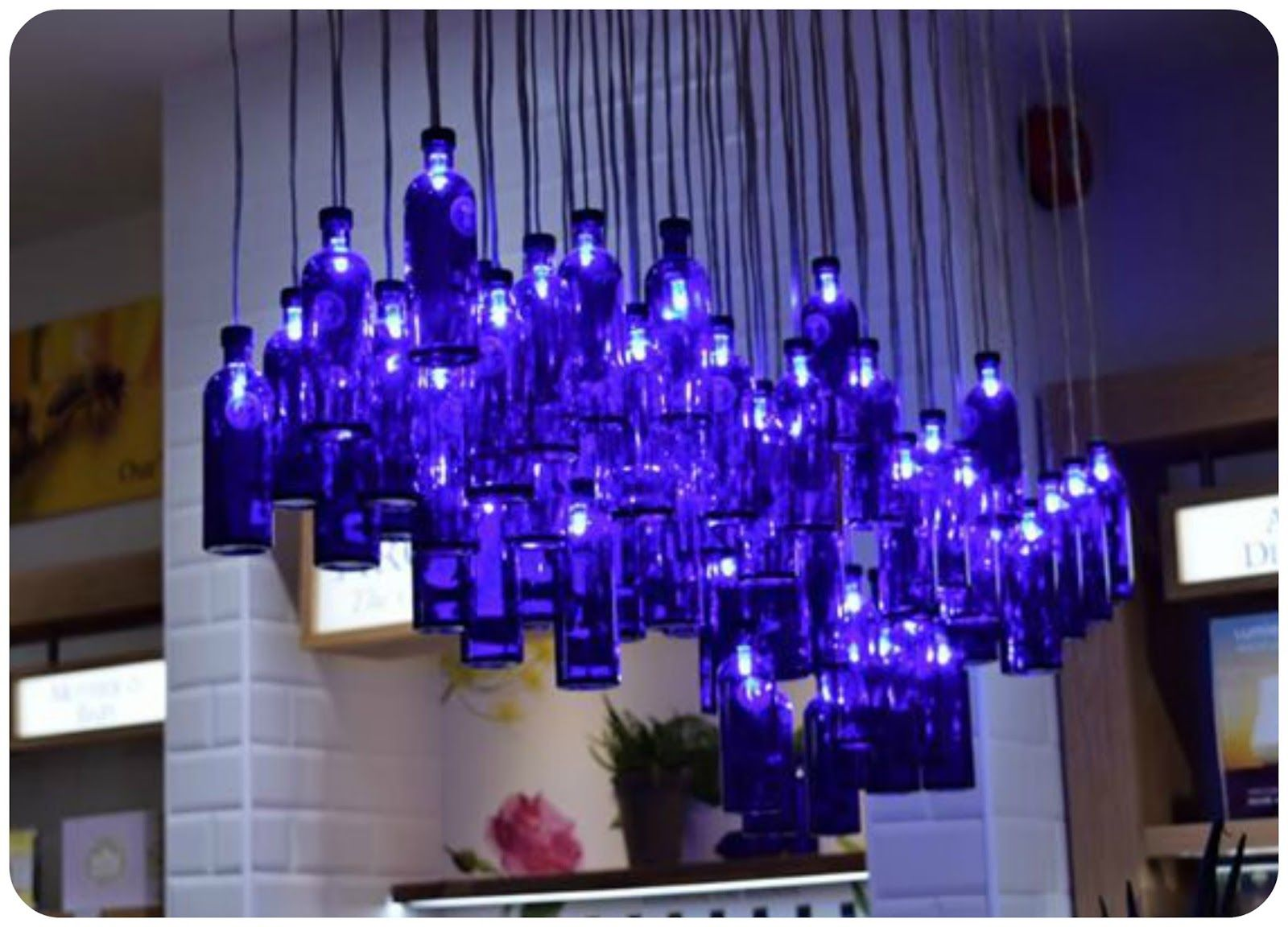 Bathroom Lights Manchester blue bottle light feature at neal's yard, manchester | neat ideas