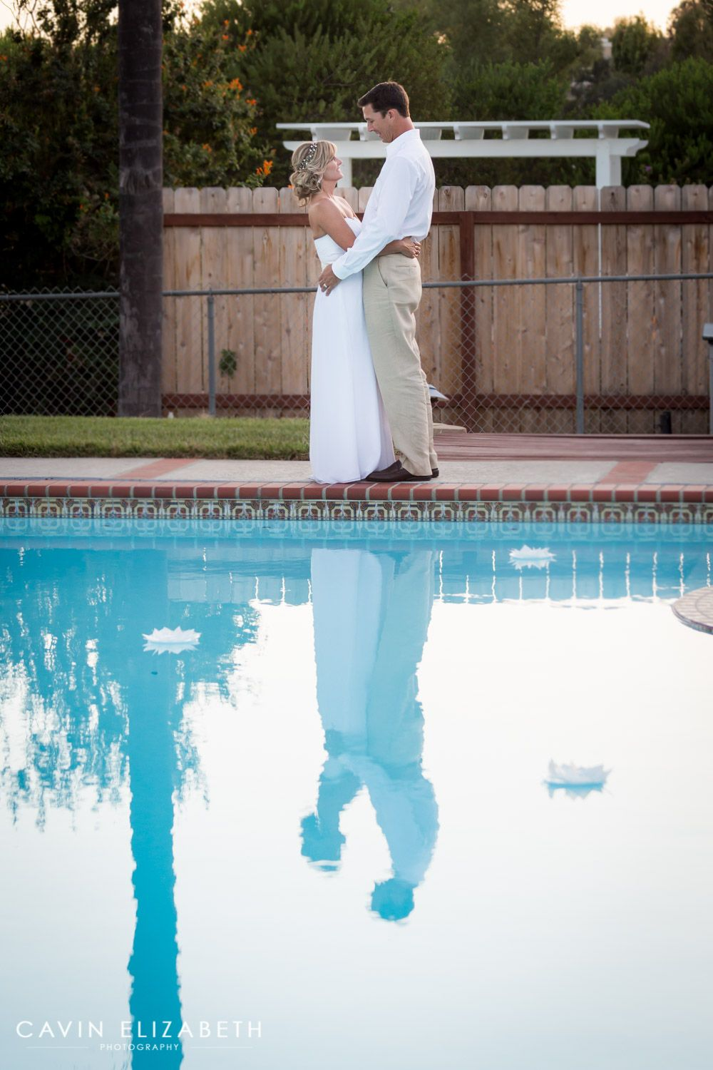 Backyard Wedding In San Diego With The Bride And Groomu0027s Reflection In A  Pool, Cool