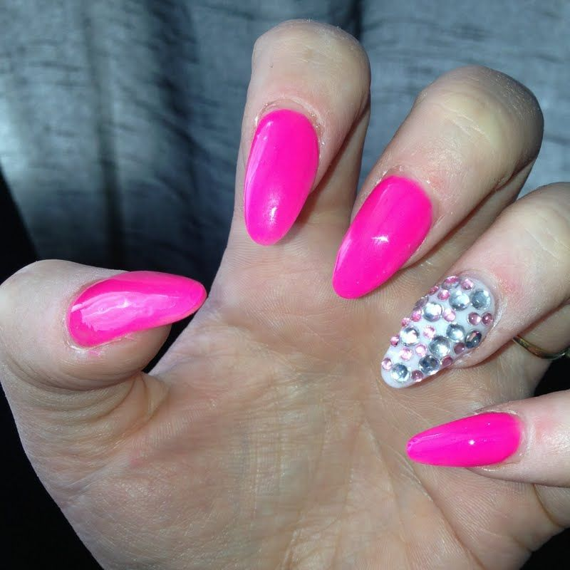 Hot Pink Acrylic Nails Tumblr