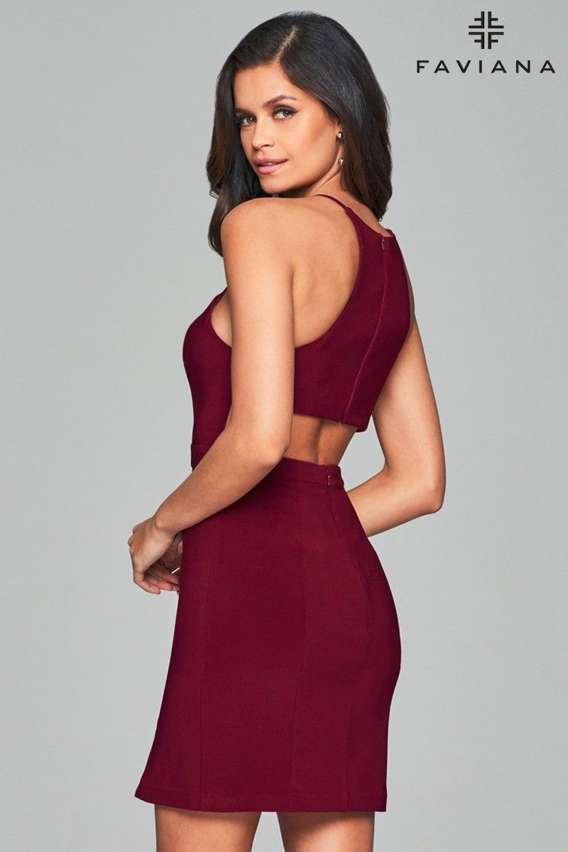 00a744639e Back view of wine short jersey cocktail dress with open back