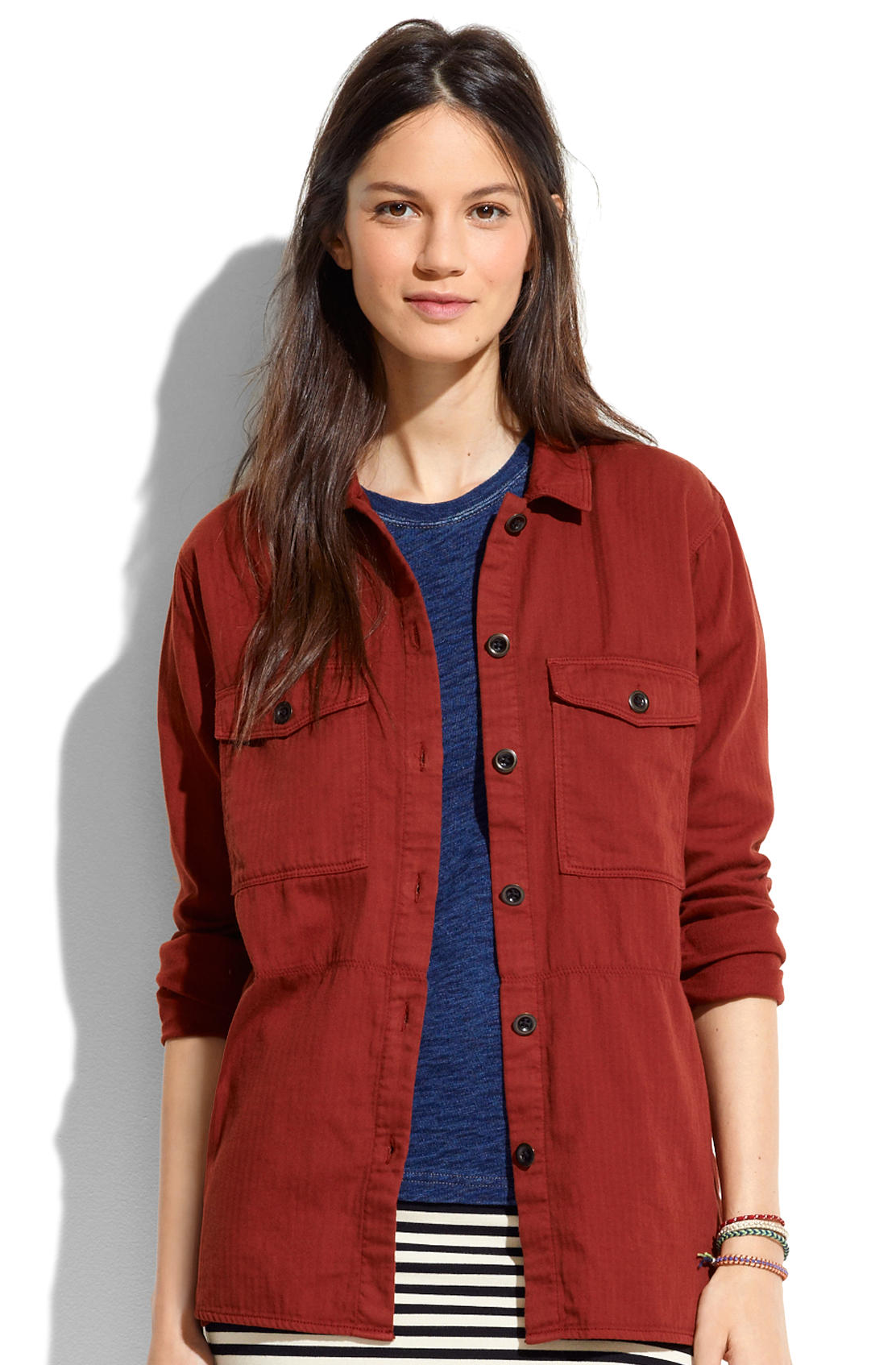 Madewell Herringbone Shirt-Jacket $118.00 The easy throw-it-on-and-go appeal of a favorite button-down, translated into a lightweight jacket. True to size. Cotton. Machine wash. Import.