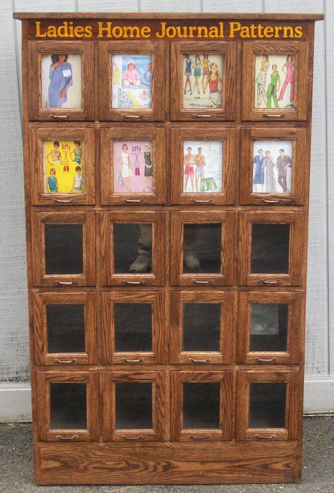Ladies Home Journal Pattern Cabinet, 20 Glass Front Drawers, BRASS ...