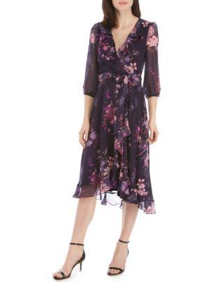 Gabby Skye 34 Sleeve Chiffon Faux Wrap Dress   Wrap dress